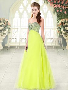 Floor Length Yellow Green Prom Dresses Tulle Sleeveless Beading