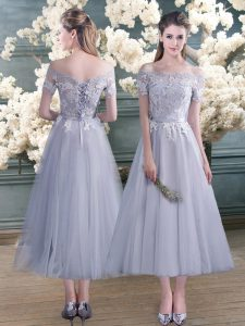 Grey Off The Shoulder Neckline Lace and Appliques Prom Dress Short Sleeves Lace Up