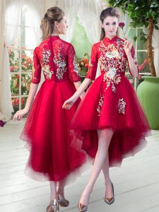 High-neck Half Sleeves Prom Dresses High Low Appliques Red Tulle