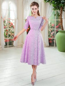 Fantastic Lilac Half Sleeves Tea Length Beading Zipper Dress for Prom