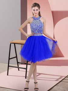 Sleeveless Knee Length Beading Backless Prom Dress with Royal Blue