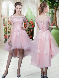 Custom Fit Baby Pink A-line Off The Shoulder Half Sleeves Tulle High Low Lace Up Lace and Appliques Prom Dresses