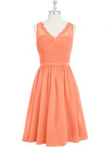 Great Chiffon V-neck Sleeveless Side Zipper Lace Prom Party Dress in Orange