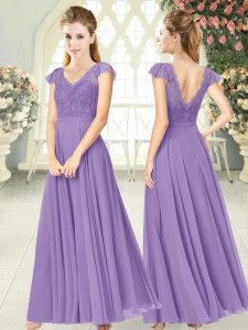 Traditional V-neck Cap Sleeves Zipper Prom Gown Lavender Chiffon