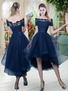 Beauteous Short Sleeves Tulle High Low Lace Up Prom Dress in Navy Blue with Lace