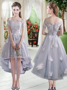 High Quality Silver Off The Shoulder Lace Up Appliques Prom Dress Cap Sleeves