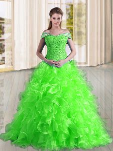 Extravagant Quinceanera Gown Organza Sweep Train Sleeveless Beading and Lace and Ruffles