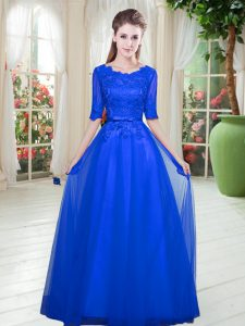 Royal Blue Half Sleeves Tulle Lace Up Homecoming Dress for Prom and Party