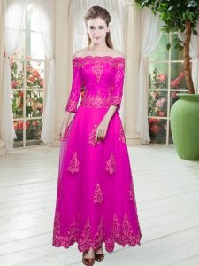 Low Price Lace and Appliques Prom Party Dress Fuchsia Lace Up 3 4 Length Sleeve Ankle Length
