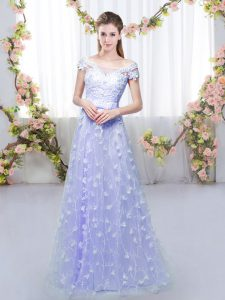 Classical Cap Sleeves Lace Up Floor Length Appliques Dama Dress