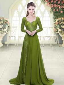 Olive Green A-line Sweetheart Long Sleeves Chiffon Sweep Train Backless Beading Prom Gown