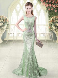 Apple Green Zipper Scoop Beading Sequined Sleeveless Brush Train