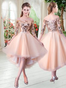 3 4 Length Sleeve Tulle High Low Lace Up Prom Gown in Peach with Sequins