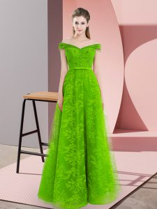 Delicate Floor Length Green Prom Dresses Off The Shoulder Sleeveless Lace Up