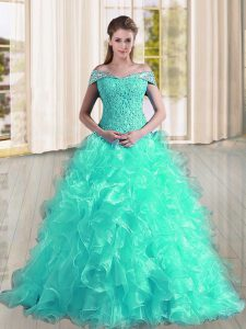 Turquoise Off The Shoulder Neckline Beading and Lace and Ruffles Sweet 16 Dress Sleeveless Lace Up
