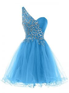 Blue A-line Tulle One Shoulder Sleeveless Beading Mini Length Lace Up Homecoming Dress