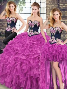 Smart Fuchsia 15 Quinceanera Dress Organza Sweep Train Sleeveless Embroidery and Ruffles