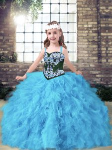 Fashionable Sleeveless Tulle Floor Length Lace Up Kids Pageant Dress in Baby Blue with Embroidery and Ruffles