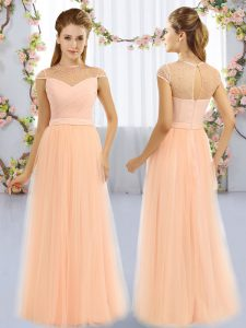 Beauteous High-neck Cap Sleeves Zipper Vestidos de Damas Peach Tulle