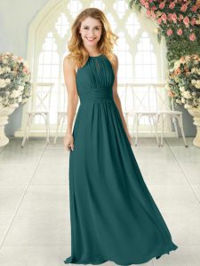 Elegant Peacock Green Empire Scoop Sleeveless Chiffon Floor Length Zipper Ruching Homecoming Dress