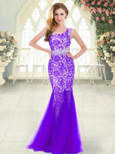 Purple Mermaid Tulle One Shoulder Sleeveless Beading and Lace Floor Length Zipper Dress for Prom