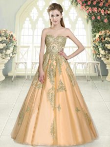 Cute Tulle Sweetheart Sleeveless Lace Up Appliques Prom Evening Gown in Peach