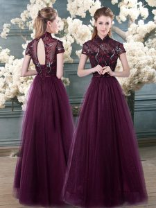 Exceptional Purple Short Sleeves Floor Length Beading and Appliques Backless Evening Party Dresses