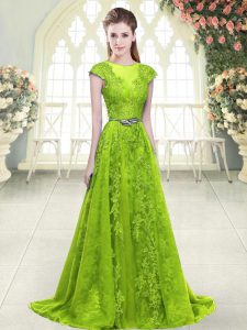 Yellow Green Homecoming Dress Prom and Party with Beading and Pick Ups Scoop Sleeveless Sweep Train Zipper