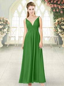 Ankle Length Empire Sleeveless Green Prom Gown Backless
