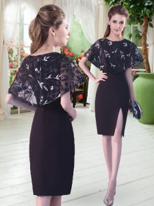 Fitting Satin Scoop Half Sleeves Lace Up Lace Prom Dresses in Black