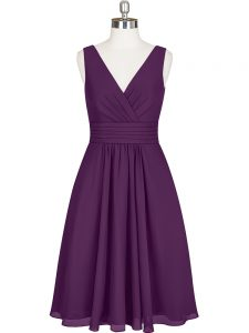 Edgy Chiffon V-neck Sleeveless Zipper Pleated Prom Evening Gown in Purple