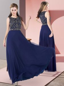 Flare Scoop Sleeveless Zipper Prom Gown Navy Blue Chiffon