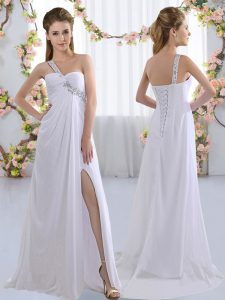 Sleeveless Chiffon Brush Train Lace Up Quinceanera Dama Dress in White with Beading