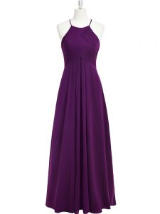 Perfect Empire Prom Evening Gown Purple Halter Top Chiffon Sleeveless Floor Length Zipper