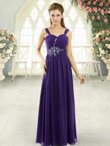Decent Purple Sleeveless Floor Length Beading and Ruching Lace Up Prom Dress