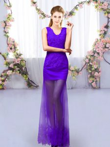 Suitable Purple Lace Up V-neck Lace Court Dresses for Sweet 16 Tulle Sleeveless