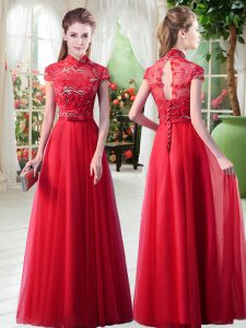 Red A-line Appliques Dress for Prom Lace Up Tulle Cap Sleeves Floor Length