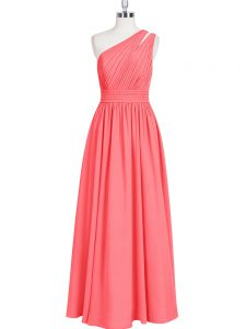 Ruching Prom Gown Red Zipper Sleeveless Floor Length