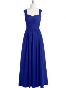 Attractive Chiffon Straps Sleeveless Zipper Ruching Prom Dresses in Royal Blue