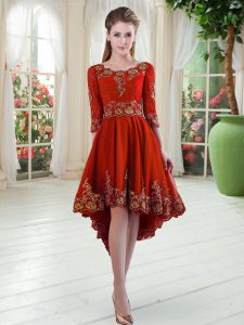 Satin Scoop Long Sleeves Lace Up Embroidery Evening Dress in Red