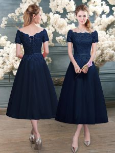 High End Scalloped Short Sleeves Zipper Lace Prom Dresses in Navy Blue