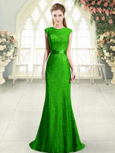 Scoop Cap Sleeves Homecoming Dress Sweep Train Beading and Lace Green