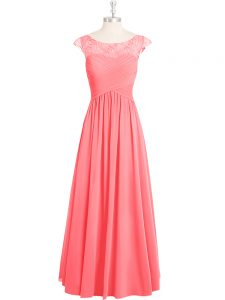 Floor Length Pink Evening Party Dresses Scoop Cap Sleeves Zipper