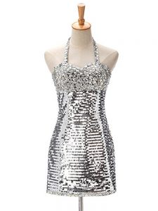 Sleeveless Sequined Mini Length Zipper Prom Dresses in Silver with Ruching