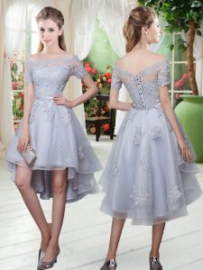 Modest Grey Off The Shoulder Lace Up Appliques Dress for Prom Short Sleeves