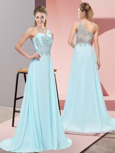 Luxurious Baby Blue Evening Wear Prom and Party and Military Ball with Beading One Shoulder Sleeveless Sweep Train Side Zipper
