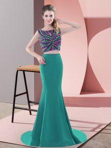 Noble Turquoise Evening Dress Prom and Party with Beading Scoop Sleeveless Sweep Train Backless