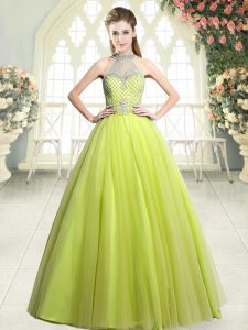 Hot Sale Yellow Green Sleeveless Beading Floor Length Prom Evening Gown