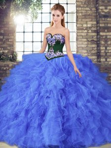 Floor Length Blue Quinceanera Gown Sweetheart Sleeveless Lace Up