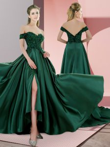 Flare Green A-line Satin Spaghetti Straps Sleeveless Beading Lace Up Prom Evening Gown Sweep Train